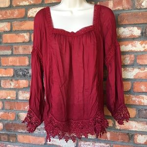 Entry Boho Square Neck Blouse with Crochet Details